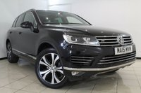 USED 2015 15 VOLKSWAGEN TOUAREG 3.0 V6 R-LINE TDI BLUEMOTION TECHNOLOGY 5DR AUTOMATIC 259 BHP FULL SERVICE HISTORY + HEATED LEATHER SEATS + HEATED STEERING WHEEL + SAT NAVIGATION + ELECTRIC PANORAMIC ROOF + PARKING SENSOR + BLUETOOTH + CRUISE CONTROL + MULTI FUNCTION WHEEL + 20 INCH ALLOY WHEELS