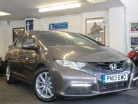 """USED 2013 13 HONDA CIVIC 1.8 I-VTEC SE 5d AUTO 140 BHP Fine example in warm grey metallic with LOW MILEAGE ONLY 21,000 miles with full Service History -16""""alloy wheels air conditioning,paddle shift and Automatic"""