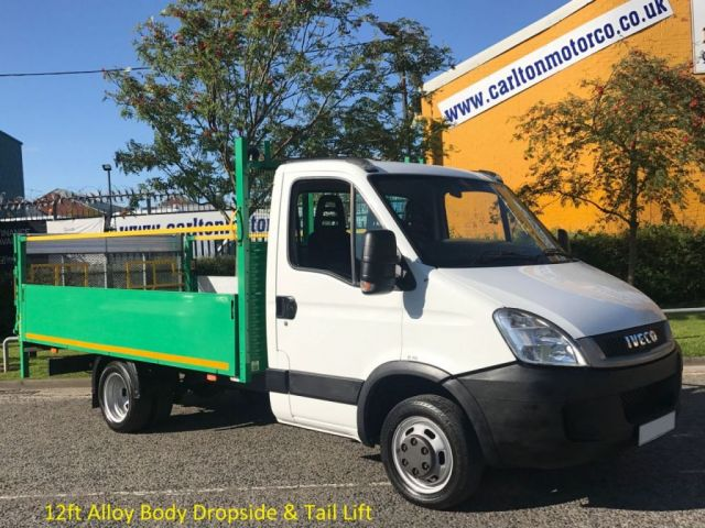 2011 61 IVECO-FORD DAILY 2.3TD 35C13 Mwb Dropside+T/Lift 12ft Alloy Body DRW Ex Highway / Motorway Maintenance, Delivery T,B,A