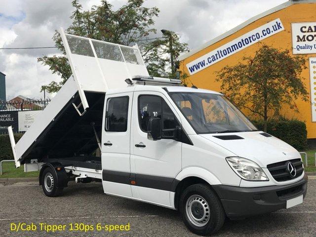 2011 61 MERCEDES-BENZ SPRINTER 313 CDI Lwb D/Crew Cab Tipper Low Mileage Ex Council Free UK Delivery