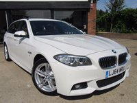 "USED 2014 64 BMW 5 SERIES 2.0 520D M SPORT TOURING 5d 188 BHP SAT NAV, FULL LEATHER, 18"" ALLOYS, PARKING SENSORS, CLIMATE CONTROL, FULL SERVICE HISTORY, SPARE KEY"