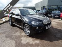 """USED 2008 58 BMW X5 3.0 D M SPORT 5d AUTO 232 BHP 1 OWNER 7 SERVICE STAMPS MOT SEPT 17 SERVICE STAMPS @ 12965mls, 16536mls, 26432mls,28614ls, 31393mls, 38028mls, 49864mls WAS £54065 NEW with £8835 OPTIONAL EXTRAS FITTED £ Navigation system £1845, Panoramic Glass sunroof £1190, 20"""" Alloys £895, Electric Front Seats £770, Xenon Headlights £540, Blue tooth phone £540, Loudspeaker £405, Sport front seats £400, Auotmatic tailgate operation £370, Adaptive headlights £315, 6 Disc BMW player £305, Reversing cameras £295,Heated front seats £260,"""