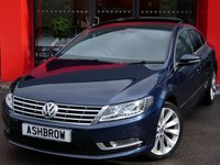 USED 2014 14 VOLKSWAGEN CC 2.0 TDI GT BLUEMOTION TECH 4d 140 S/S UPGRADE PANORAMIC SUNROOF, UPGRADE REAR VIEW CAMERA, UPGRADE BIXENON HEADLIGHTS WITH LED DRL'S, UPGRADE HEATED FRONT & REAR SEATS, UPGRADE HEATED FRONT WINDSCREEN, UPGRADE ELECTRIC REAR SUNBLIND, UPGRADE BLACK HEADLINING, UPGRADE AUTO DIMMING HEATED FOLDING DOOR MIRRORS, UPGRADE POWER LUMBAR SUPPORT, UPGRADE ELECTRIC FRONT SEATS WITH DRIVER MEMORY, UPGRADE AMBIENT LIGHTING PACK, UPGRADE INTERIOR LIGHTS IN FOOT WELL, SAT NAV, FULL BLACK LEATHER, 1 OWNER, FULL VW HIST, £30 RFL
