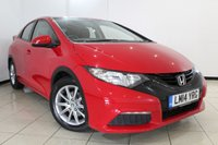 USED 2014 14 HONDA CIVIC 1.3 I-VTEC S 5DR 98 BHP FULL SEREVICE HISTORY + CLIMATE CONTROL + MULTI FUNCTION WHEEL + RADIO/CD + ELECTRIC WINDOWS + 16 INCH ALLOY WHEELS