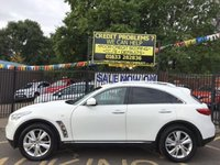 USED 2012 62 INFINITI FX 3.0 FX30D 5d AUTO 235 BHP STUNNING PEARLE WHITE PAINTWORK WITH FULL BLACK LEATHER UPHOLSTERY. FULL INFINITI SERVICE HISTORY. VERY LOW MILEAGE. SAT NAV. REVERSE CAMERA. HEATED ELECTRIC SEATS. ALLOY WHEELS. AMAZING FINANCE DEALS. THE VERY BEST PART EXCHANGE PRICES.