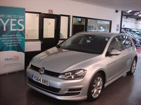 USED 2014 64 VOLKSWAGEN GOLF 1.6 SE TDI BLUEMOTION TECHNOLOGY 5d 103 BHP This Golf costs £0 to tax!!! It is finished in Reflex silver with Black cloth seats. It is fitted with power steering, remote locking, electric windows and mirrors, air con, cruise control, front and rear parking sensors,  Bluetooth, Silver alloy wheels, DAB CD Stereo with Media socket and more. It has had 2 private owners and comes with a full service history consisting of three stamps, all at VW done at 8708/18062/31013 miles. The current Mot runs till September 2018.