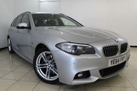 USED 2014 64 BMW 5 SERIES 2.0 520D M SPORT TOURING 5DR AUTOMATIC 188 BHP HEATED LEATHER SEATS + SAT NAVIGATION + PARKING SENSOR + BLUETOOTH + CRUISE CONTROL + MULTI FUNCTION WHEEL + 18 INCH ALLOY WHEELS