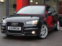 USED 2011 11 AUDI A1 1.4 TFSI S LINE 3d 122 S/S UPGRADE 18 INCH TWIN 7 SPOKE ALLOY WHEELS, UPGRADE REAR ACOUSTIC PARKING SENSORS, UPGRADE COMFORT PACK INCLUDING CRUISE CONTROL AUTO DIMMING REAR VIEW MIRROR RAIN & LIGHT SENSORS WITH WINDSCREEN SUN BAND, UPGRADE ELECTRONIC CLIMATE CONTROL, BLUETOOTH PHONE & MUSIC STREAMING, FULL S-LINE BODY KIT, FRONT FOG LIGHTS, BLACK 1/2 LEATHER INTERIOR, SPORT SEATS, LEATHER MULTIFUNCTION STEERING WHEEL, CD HIFI WITH SD CARD READER, AUX INPUT, FULL SERVICE HISTORY