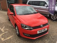 USED 2011 61 VOLKSWAGEN POLO 1.2 MATCH 3 DOOR 59 BHP IN BRIGHT RED  2 LADY OWNERS APPROVED CARS ARE PLEASED TO OFFER THIS VOLKSWAGEN POLO 1.2 MATCH 3 DOOR 59 BHP IN BRIGHT RED,2 LADY OWNERS AND ONLY 53791 MILES FROM NEW WITH ALLOY WHEELS,AIR CON,ABS,CD,E/WINDOWS AND 2 KEYS ALONG WITH A GREAT SERVICE HISTORY SERVICED AT 9K,17K,26K,36K AND 47K.
