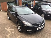 USED 2010 60 KIA CEED 1.6 3 SW CRDI 5 DOOR ESTATE 113 BHP IN BLACK DIESEL MANUAL NEW SHAPE APPROVED CARS ARE PLEASED TO OFFER THIS  KIA CEED 1.6 3 SW CRDI 5 DOOR ESTATE 113 BHP IN BLACK THIS CAR IS A DIESEL, MANUAL, NEW SHAPE CAR WITH A GREAT SPEC INCLUDING A 6 SPEED GEARBOX,AIR CON,ALLOYS,CD,E/WINDOWS,P/STEERING,CRUISE CONTROL,C/LOCKING AND REAR PARKING SENSORS ALONG WITH A FULL SERVICE HISTORY WITH 5 SERVICE STAMPS JUST MAKES THIS CEED A GREAT LITTLE ESTATE CAR
