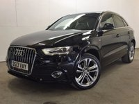 USED 2013 13 AUDI Q3 2.0 TDI QUATTRO S LINE 5d 138 BHP SAT NAV LEATHER PRIVACY 19 ALLOYS  4WD. SATELLITE NAVIGATION. STUNNING BLACK MET WITH PART BLACK LEATHER S LINE TRIM. 19 INCH ALLOYS. COLOUR CODED TRIMS. PRIVACY GLASS. PARKING SENSORS. BLUETOOTH PREP. MULTI MEDIA SCREEN. CLIMATE CONTROL. TRIP COMPUTER. R/CD/MP3 PLAYER. 6 SPEED MANUAL. MFSW. MOT 09/18. FCA FINANCE APPROVED DEALER. TEL 01937 849492.