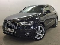 USED 2013 63 AUDI Q3 2.0 TDI QUATTRO S LINE 5d AUTO 175 BHP SAT NAV LEATHER 19 ALLOYS PRIVACY ONE OWNER 4WD. SATELLITE NAVIGATION. STUNNING BLACK MET WITH FULL BLACK LEATHER S LINE TRIM. CRUISE CONTROL. 17 INCH ALLOYS. COLOUR CODED TRIMS. PRIVACY GLASS. PARKING SENSORS. BLUETOOTH PREP. MULTI MEDIA SCREEN. CLIMATE CONTROL. TRIP COMPUTER. R/CD/MP3 PLAYER. PADDLE SHIFT AUTO. MFSW. MOT 09/18. ONE OWNER FROM NEW. SERVICE HISTORY.  FCA FINANCE APPROVED DEALER. TEL 01937 849492.
