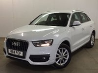 USED 2014 14 AUDI Q3 2.0 TDI SE 5d 138 BHP 17 ALLOYS PDC ONE OWNER NO FINANCE REPAYMENTS FOR 2 MONTHS STC. STUNNING WHITE WITH BLACK CLOTH TRIM. START/STOP SYSTEM. 17 INCH ALLOYS. COLOUR CODED TRIMS. PARKING SENSORS. BLUETOOTH PREP. AIR CON. R/CD PLAYER. 6 SPEED MANUAL. MFSW. MOT 07/18. ONE OWNER FROM NEW. FULL SERVICE HISTORY. FCA FINANCE APPROVED DEALER. 01937 849492
