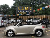 USED 2015 15 VOLKSWAGEN BEETLE 2.0 DESIGN TDI BLUEMOTION TECHNOLOGY 3d 108 BHP STUNNING METALLIC CHAMPAGNE PAINT, LOVELY GREY BLACK CLOTH INTERIOR, ALLOY WHEELS, REAR SPOILER, BLUETOOTH, FRONT AND REAR PARKING SENSORS, CD, USB, 1 OWNER, LOW MILEAGE, VW SERVICE HISTORY