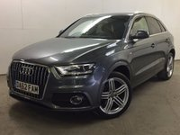 USED 2012 62 AUDI Q3 2.0 TDI QUATTRO S LINE 5d 138 BHP LEATHER 19 ALLOYS PRIVACY ONE OWNER FSH 4WD. STUNNING GREY MET WITH PART BLACK LEATHER S-LINE TRIM. HEATED SEATS. 19 INCH ALLOYS. COLOUR CODED TRIMS. PRIVACY GLASS. PARKING SENSORS. BLUETOOTH PREP. MULTI MEDIA SCREEN. CLIMATE CONTROL. TRIP COMPUTER. R/CD/MP3 PLAYER. 6 SPEED MANUAL. MFSW. MOT 08/18. ONE OWNER FROM NEW. FULL SERVICE HISTORY. FCA FINANCE APPROVED DEALER. TEL 01937 849492.