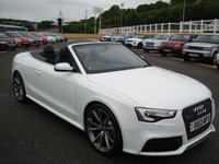 USED 2013 13 AUDI RS5 CABRIOLET 4.2FSI QUATTRO AUTO 444 BHP Mega spec £8,000 in cost options costing £76,000 new. White with Black leather & Red roof