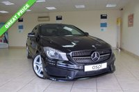 USED 2014 14 MERCEDES-BENZ CLA 2.1 CLA220 CDI AMG SPORT 4d AUTO 170 BHP SALOON BLACK LEATHER WITH RED STITCHING, SATELLITE NAVIGATION PILOT, FRONT AND REAR PARKING SENSORS, BLUETOOTH, DAB RADIO, LOW MILEAGE