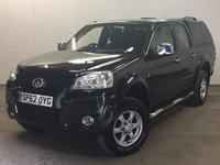 USED 2012 62 GREAT WALL STEED 2.0 TD SE 4X4 DCB 4d 141 BHP CANOPY LEATHER RUNNING BOARDS ONE OWNER COMMERCIAL (£6300+1260VAT). 4WD. HARDTOP CANOPY. STUNNING BLACK MET WITH FULL BLACK LEATHER TRIM. HEATED SEATS, AIR CON. RUNNING BOARDS. 16 INCH ALLOYS. COLOUR CODED TRIMS. PARKING SENSORS. PAS. R/CD PLAYER. 6 SPEED MANUAL. MFSW. TOWBAR. MOT 09/18. ONE OWNER FROM NEW. TEL 01937 849492