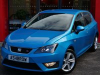 USED 2014 14 SEAT IBIZA 1.6 TDI CR FR 5d 105 BHP SAT NAV, BLUETOOTH PHONE & MUSIC STREAMING, MANUAL 5 SPEED, GREY CLOTH INTERIOR, FRONT FOG LIGHTS, 16 INCH 5 SPOKE ALLOYS, LEATHER FLAT BOTTOM STEERING WHEEL, STEERING COLUMN REMOTE CONTROLS, DIS TRIP COMPUTER, AIR CONDITIONING, CD HIFI, AUX INPUT, ELECTRIC WINDOWS, ELECTRIC DOOR MIRRORS, FOLDING REAR SEATS, ISO FIX, 3x 3 POINT REAR SEAT BELTS, REMOTE CENTRAL LOCKING, AIRBAGS WITH PASSENGER OFF FUNCTION. 1 OWNER FROM NEW, FULL SERVICE HISTORY, £30 ROAD TAX (112 G/KM), VAT QUALIFYING.