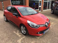 USED 2014 64 RENAULT CLIO 1.1 DYNAMIQUE MEDIANAV 5 DOOR 75 BHP ONLY 37500 MILES IN MET RED APPROVED CARS ARE PLEASED TO OFFER THIS RENAULT CLIO 1.1 DYNAMIQUE MEDIANAV 5 DOOR 75 BHP WITH ONLY 37500 MILES IN MET RED WITH BLACK CLOTH INTERIOR AND A GOOD SPEC INCLUDING AIR CON,ALARM,ALLOY WHEELS,BLUETOOTH AND CRUISE CONTROL ALONG WITH A FULL SERVICE HISTORY.