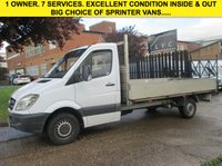 USED 2014 63 MERCEDES-BENZ SPRINTER 2.1 313CDI LWB DROPSIDE PICK UP 13FT 6'' ALLOY BODY. 1 OWNER. LOW 102,000 MILES.FSH. 1 OWNER. LOW RATE FINANCE. PX WELCOME
