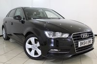 USED 2014 64 AUDI A3 2.0 TDI SPORT 5DR 148 BHP CLIMATE CONTROL + BLUETOOTH + CRUISE CONTROL + MULTI FUNCTION WHEEL + 17 INCH ALLOY WHEELS
