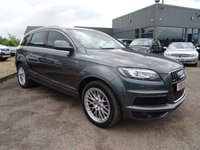 USED 2010 60 AUDI Q7 3.0 TDI QUATTRO S LINE 5d AUTO 240 BHP 1 FORMER KEEPER, MOT SEPT 2018, 3 DEALERSHIP SERVICE STAMPS 1712mls, 33243mls, 55720mls ORIGINAL RETAIL PRICE £51340 WITH £6205 OPTIONAL EXTRAS FITTED : HDD based Satelite navigation £2500, Load pack £830, Pearl paint effect £750, Audi parking system £650, Visibility package £470, Electric tailgate £375, Mobile phone prep £255, Audi music interface £250, Colour drivers info £125.With contrasting Black sports leather trim, heated electric seats with lumber support, 7 seats, cruise control,