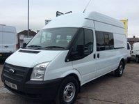 2013 FORD TRANSIT LWB 2.2 350 124 BHP 9 SEAT CREW VAN EX MOD 1 OWNER FSH NEW MOT £8000.00