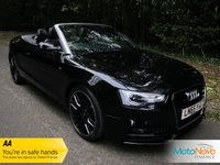 "USED 2015 65 AUDI A5 2.0 TDI S LINE SPECIAL EDITION PLUS 2d AUTO 187 BHP FANTASTIC ONE LADY OWNED A5 S LINE SPECIAL EDITION CABRIOLET AUTOMATIC WITH SATELLITE NAVIGATION, FULL LEATHER, CLIMATE CONTROL, CRUISE CONTROL, 19"" ALLOY WHEELS AND AUDI SERVICE HISTORY"