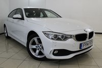 USED 2014 14 BMW 4 SERIES 2.0 420D SE GRAN COUPE 4DR 181 BHP BMW SERVICE HISTORY + HEATED LEATHER SEATS + AIR CONDITIONING + REVERSE CAMERA + PARKING SENSOR + BLUETOOTH + CRUISE CONTROL + MULTI FUNCTION WHEEL + 17 INCH ALLOY WHEELS