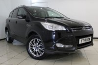 USED 2014 14 FORD KUGA 2.0 TITANIUM TDCI 5DR 160 BHP FULL SERVICE HISTORY + HALF LEATHER SEATS + CLIMATE CONTROL + BLUETOOTH + CRUISE CONTROL + MULTI FUNCTION WHEEL + 17 INCH ALLOY WHEELS