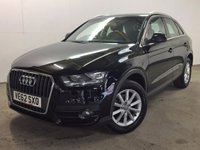 USED 2012 62 AUDI Q3 2.0 TDI SE 5d 138 BHP SAT NAV ALLOYS PDC  NO FINANCE REPAYMENTS FOR 2 MONTHS STC. SATELLITE NAVIGATION. STUNNING BLACK MET WITH GREY CLOTH TRIM. 17 INCH ALLOYS. COLOUR CODED TRIMS. PARKING SENSORS. BLUETOOTH PREP. AIR CON. MONITOR. R/CD PLAYER. 6 SPEED MANUAL. MFSW. MOT 09/18. SERVICE HISTORY. FCA FINANCE APPROVED DEALER. 01937 849492