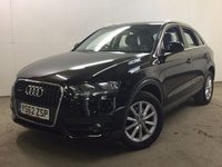 USED 2013 62 AUDI Q3 2.0 TDI QUATTRO SE 5d 138 BHP 4WD ALLOYS PDC ONE OWNER FSH 4WD. STUNNING BLACK MET WITH GREY CLOTH TRIM. 17 INCH ALLOYS. COLOUR CODED TRIMS. PARKING SENSORS. BLUETOOTH PREP. AIR CON. MONITOR. R/CD PLAYER. 6 SPEED MANUAL. MFSW. MOT 09/18. ONE OWNER FROM NEW. FULL SERVICE HISTORY. FCA FINANCE APPROVED DEALER. 01937 849492
