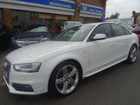 USED 2014 14 AUDI A4 3.0 TDI QUATTRO S LINE BLACK EDITION 4d AUTO 241 BHP  IBIS WHITE/CARBON LEATHER