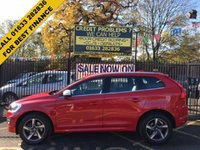 "USED 2015 65 VOLVO XC60 2.4 D4 R-DESIGN LUX NAV AWD 5d AUTO 178 BHP STUNNING FLAME RED WITH FULL BLACK LEATHER UPHOLSTERY. ONE OWNER WITH FULL VOLVO SERVICE HISTORY. SATELLITE NAVIGATION. 18"" GREY ALLOY WHEELS. ELECTRIC SEATS. HEATED SEATS. CRUISE CONTROL."