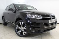 USED 2014 14 VOLKSWAGEN TOUAREG 3.0 V6 R-LINE TDI BLUEMOTION TECHNOLOGY 5DR AUTOMATIC 242 BHP FULL VW SERVICE HISTORY + HEATED LEATHER SEATS + SAT NAVIGATION + BLUETOOTH + CRUISE CONTROL + PANORAMIC ROOF + MULTI FUNCTION WHEEL + CLIMATE CONTROL + 20 INCH ALLOY WHEELS