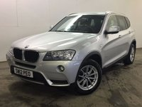 USED 2012 12 BMW X3 2.0 XDRIVE20D SE 5d AUTO 181 BHP 4WD LEATHER PRIVACY PDC  NO FINANCE REPAYMENTS FOR 2 MONTHS STC. 4WD. STUNNING SILVER MET WITH FULL BLACK LEATHER TRIM. CRUISE CONTROL. 17 INCH ALLOYS. COLOUR CODED TRIMS. PRIVACY GLASS. PARKING SENSORS. BLUETOOTH PREP. CLIMATE CONTROL. R/CD PLAYER. MFSW. MOT 09/18. FULL SERVICE HISTORY. ONE PREV OWNER. FCA FINANCE APPROVED DEALER. TEL 01937 849492