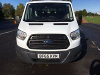 USED 2015 65 FORD TRANSIT 2.2 350 L3 DCB C/C DRW 1d 124 BHP HEAVY DUTY TOWBAR, SAFETY RAILS, 3 WAY DROPSIDE