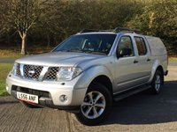 USED 2006 56 NISSAN NAVARA 2.5 DCI AVENTURA 4X4SHR SWB D/C 1d 169 BHP SAT NAV LEATHER HARDTOP CANOPY FSH NO FINANCE REPAYMENTS FOR 2 MONTHS STC. COMMERCIAL (£6400+1280VAT). 4WD. HARDTOP CANOPY. SATELLITE NAVIGATION. SUNROOF. STUNNING SILVER MET WITH FULL BLACK LEATHER TRIM. ELECTRIC HEATED SEATS, CARGO LINING. CRUISE CONTROL. AIR CON. SIDE STEPS. 17 INCH ALLOYS. COLOUR CODED TRIMS. PRIVACY GLASS. PARKING SENSORS. ROOF RAILS. BLUETOOTH PREP. PAS. EW. MFSW. MOT 09/18. FULL SERVICE HISTORY. TEL 01937 849492