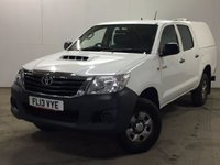 USED 2013 13 TOYOTA HI-LUX 2.5 HL2 4X4 D-4D DCB 1d 142 BHP HARD TOP CANOPY TOWBAR FSH NO FINANCE REPAYMENTS FOR 2 MONTHS STC. COMMERCIAL (£9400+1880VAT). 4WD. TRUCKMAN CANOPY. STUNNING WHITE WITH FULL GREY CLOTH TRIM. AIR CON. COLOUR CODED TRIMS. PARKING SENSORS. PAS. R/CD PLAYER. EW. MFSW. TOWBAR. MOT 09/18. ONE PREV OWNER. FULL SERVICE HISTORY. FCA FINANCE APPROVED DEALER. TEL 01937 849492