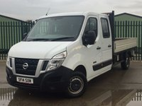 USED 2014 14 NISSAN NV400 2.3 DCI SE SHR C/C DROPSIDE 1d 125 BHP AIR CON ONE OWNER FSH NO FINANCE REPAYMENTS FOR 2 MONTHS STC. 6 SEATER CREW CAB. FLAT BED. STUNNING WHITE WITH GREY CLOTH TRIM. CRUISE CONTROL. AIR CON. R/CD PLAYER. 6 SPEED MANUAL. MOT 10/18. ONE OWNER FROM NEW. FCA FINANCE APPROVED DEALER. TEL 01937 849492