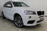 USED 2013 13 BMW X3 2.0 XDRIVE20D M SPORT 5DR AUTOMATIC 181 BHP FULL SERVICE HISTORY + LEATHER SEATS + PARKING SENSOR + BLUETOOTH + CRUISE CONTROL + MULTI FUNCTION WHEEL + 18 INCH ALLOY WHEELS