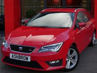 USED 2014 14 SEAT LEON ESTATE 2.0 TDI FR TECHNOLOGY 5d 150 S/S SAT NAV, BLACK 1/2 LEATHER INTERIOR, LED HEADLIGHTS & DAYTIME RUNNING LIGHTS, DAB RADIO, BLUETOOTH PHONE & MUSIC STREAMING, FRONT & REAR PARKING SENSORS WITH DISPLAY, TINTED GLASS, MDI INPUT FOR IPOD / USB DEVICES, CD HIFI WITH 2x SD CARD READERS,  LEATHER FLAT BOTTOM MULTI FUNCTION STEERING WHEEL, CRUISE CONTROL, DRIVING MODE SELECT, DUAL CLIMATE AIR CON, FRONT CENTRE ARM REST, ELECTRIC HEATED FOLDING DOOR MIRRORS, 1 OWNER, SEAT SERVICE HISTORY, £20 ROAD TAX