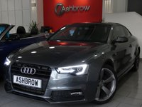 USED 2013 63 AUDI A5 2.0 TDI S LINE BLACK EDITION 2d 177 S/S UPGRADE BLACK STYLING PACK, AUDI MUSIC INTERFACE (AMI), BANG & OLUFSEN SOUND SYSTEM, REAR ACOUSTIC PARKING SENSORS, PRIVACY GLASS, DAB RADIO, BLUETOOTH PHONE, LED XENON LIGHTS, 9 INCH ROTOR ALLOYS, FULL BLACK LEATHER, LEATHER FLAT BOTTOM MULTIFUNCTION STEERING WHEEL, LIGHT & RAIN SENSORS WITH AUTO DIMMING REAR VIEW MIRROR, CRUISE CONTROL, CONCERT RADIO WITH CD PLAYER & SD CARD READER, £30 ROAD TAX, 1 OWNER FROM NEW, SERVICE HISTORY