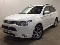 USED 2014 64 MITSUBISHI OUTLANDER 0.0 PHEV GX 4HS 5d AUTO 162 BHP SAT NAV SUNROOF LEATHER ONE OWNER FSH NO FINANCE REPAYMENTS FOR 2 MONTHS STC. 4WD. REAR ENTERTAINMENT SCREENS WITH HEADSETS. SATELLITE NAVIGATION. SUNROOF. STUNNING SILKY WHITE WITH FULL BLACK LEATHER TRIM. ELECTRIC HEATED SEATS. CRUISE CONTROL. 18 INCH ALLOYS. COLOUR CODED TRIMS. PRIVACY GLASS. REVERSING CAMERA. ELECTRIC TAILGATE. BLUETOOTH PREP. AIR CON. R/CD PLAYER. PADDLESHIFT AUTO. MFSW. MOT 09/18. ONE OWNER FROM NEW. FULL DEALER SERVICE HISTORY. FCA FINANCE APPROVED DEALER. TEL 01937 849492