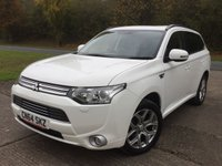 USED 2014 64 MITSUBISHI OUTLANDER 0.0 PHEV GX 4H 5d AUTO 162 BHP 4WD SAT NAV SUNROOF LEATHER  ONE OWNER FSH 4WD. SATELLITE NAVIGATION. SUNROOF. STUNNING WHITE WITH FULL BLACK LEATHER TRIM. ELECTRIC HEATED SEATS. CRUISE CONTROL. 18 INCH ALLOYS. COLOUR CODED TRIMS. PRIVACY GLASS. REVERSING CAMERA. ELECTRIC TAILGATE. BLUETOOTH PREP. AIR CON. R/CD PLAYER. PADDLESHIFT AUTO. MFSW. TOWBAR. MOT 10/18. ONE OWNER FROM NEW. FULL DEALER SERVICE HISTORY. FCA FINANCE APPROVED DEALER. TEL 01937 849492