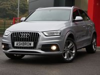 USED 2014 64 AUDI Q3 2.0 TDI QUATTRO S LINE PLUS 5d AUTO 177 S/S UPGRADE 19 INCH 5 DOUBLE SPOKE ALLOY WHEELS, SAT NAV, FRONT & REAR PARKING SENSORS WITH DISPLAY, BLACK LEATHER ALCANTARA INTERIOR, CRUISE CONTROL, DAB RADIO, BLUETOOTH PHONE & MUSIC STREAMING,  LED XENON LIGHTS, PRIVACY GLASS, SPORT SEATS WITH ELECTRIC LUMBAR SUPPORT, LEATHER 3 SPOKE SPORTS MULTIFUNCTION TIPTRONIC STEERING WHEEL (PADDLE SHIFT), AUTO LIGHTS & WIPERS WITH AUTO DIMMING REAR VIEW MIRROR, AUDI MUSIC INTERFACE FOR IPOD / USB DEVICES (AMI), 1 OWNER FROM NEW, FULL SERVICE HISTORY