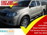 USED 2012 62 TOYOTA HI-LUX DOUBLE CAB Invincible 3.0 D-4D 4WD 171ps