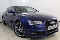 USED 2012 62 AUDI A5 2.0 TFSI S LINE 2DR AUTOMATIC 208 BHP FULL SERVICE HISTORY + HEATED LEATHER SEATS + CLIMATE CONTROL + SAT NAVIGATION + PARKING SENSOR + BLUETOOTH + CRUISE CONTROL + MULTI FUNCTION WHEEL + 18 INCH ALLOY WHEELS