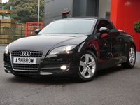 USED 2008 58 AUDI TT ROADSTER 2.0 TFSI 2d 200 BHP UPGRADE FULL BLACK LEATHER INTERIOR, UPGRADE BLUETOOTH PHONE PREP, UPGRADE LEATHER FLAT BOTTOM MULTIFUNCTION STEERING WHEEL, UPGRADE SYMPHONY RADIO WITH 6CD CHANGER, MANUAL 6 SPEED GEARBOX, FRONT FOG LIGHTS, HEADLAMP WASHERS, ACTIVE REAR SPOILER, 17 INCH 5 SPOKE ALLOYS, SPORT SEATS, ALUMINIUM PEDALS, CLIMATE AIR CON, ELECTRIC ROOF, ELECTRIC WINDOWS, ELECTRIC HEATED DOOR MIRRORS, ESP TRACTION CONTROL, AUX INPUT, DIS TRIP COMPUTER, MULTIPLE AIRBAGS.  GOOD SERVICE HISTORY